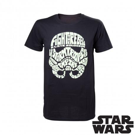 ce t-shirt geek où un Stormtrooper façon calligraphie