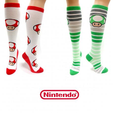 1-Up et Super-Mushroom vont habiller vos pieds de manière ultra geek et rétro avec ces chaussettes Nintendo à leur effigie
