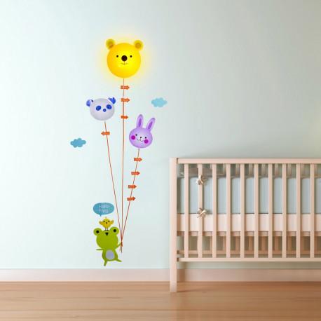 Lampe et Stickers Toise Ourson et Ballons