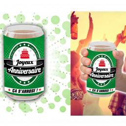 Verre Canette Bière Joyeux Anniversaire
