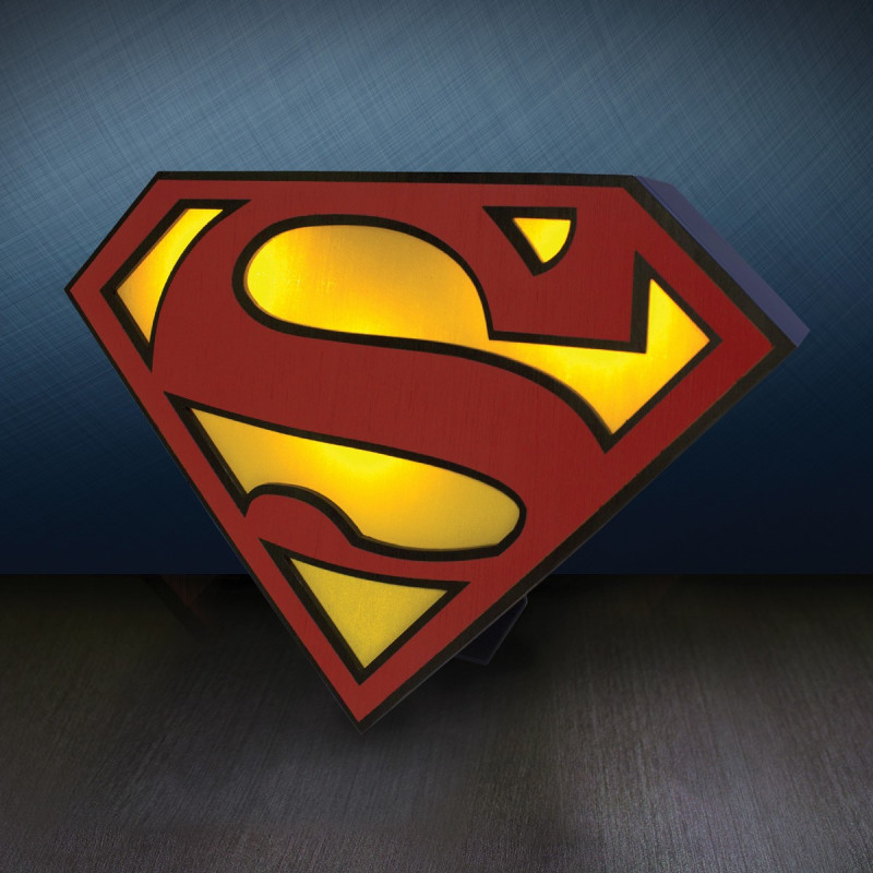 lampe superman lampe poser en forme de logo de. Black Bedroom Furniture Sets. Home Design Ideas